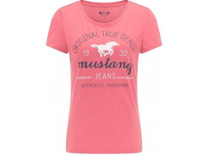 Damen Rundhals T Shirt Print Shirt Mustang rosa 1009727 8271 1B
