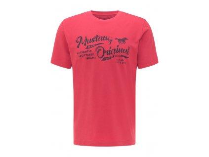 Herren Rundhals T Shirt Label Shirt Mustang rot 1009895 8347 1B
