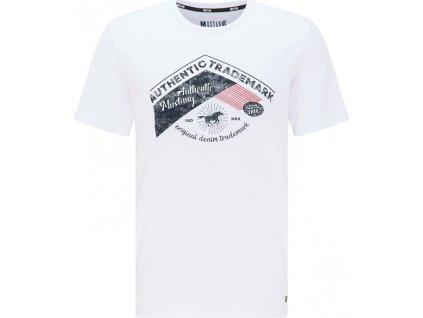Herren Rundhals T Shirt Print Shirt Mustang weiss 1009914 2045 1B