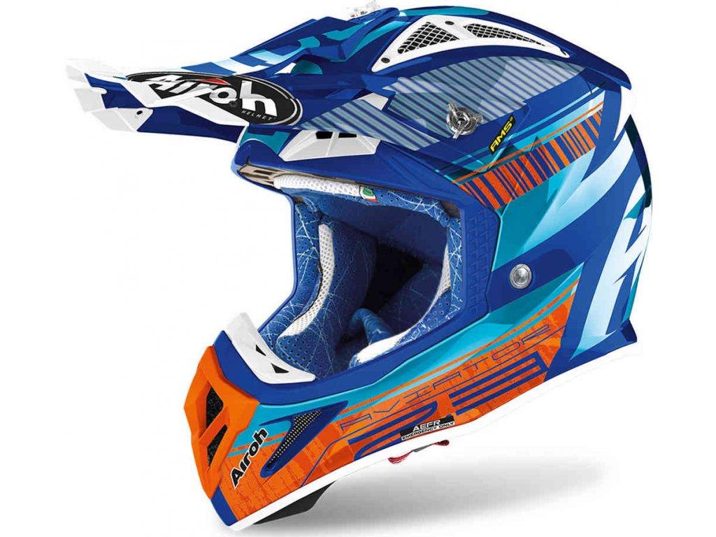 prilba na moto airoh aviator 2.3 ams2 novak azure orange blue