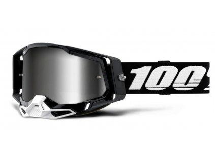 Okuliare RACECRAFT 2 100%  - čierne, zrkadlové strieborné plexi