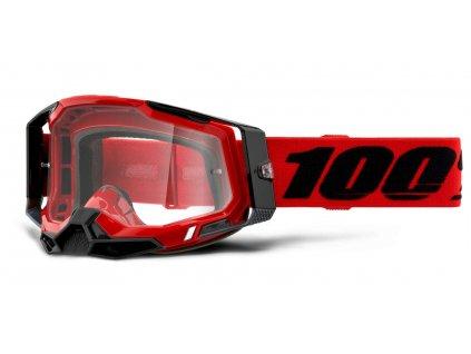 Okuliare RACECRAFT 2 100% - červené, číre plexi