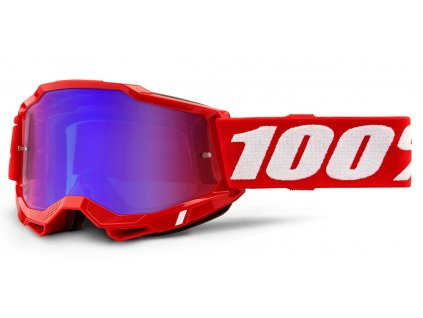 Okuliare ACCURI 2 100% - červené, zrkadlové červené-modré plexi