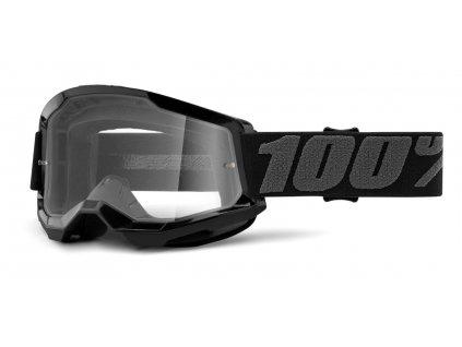 Okuliare STRATA 2 100% - čierne, číre plexi