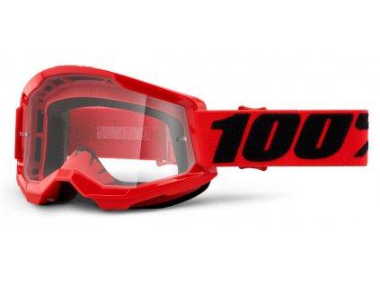 Okuliare STRATA 2 100% - červené, číre plexi