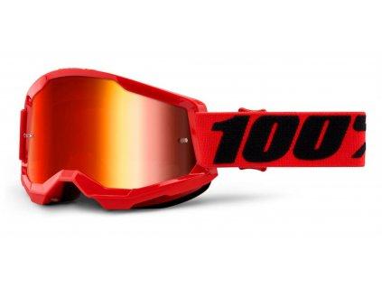 Okuliare STRATA 2 100% - červené, zrkadlové červené plexi