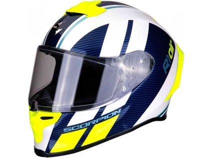 Prilba Scorpion  EXO-R1 Air Corpus White Blue Neon Yellow