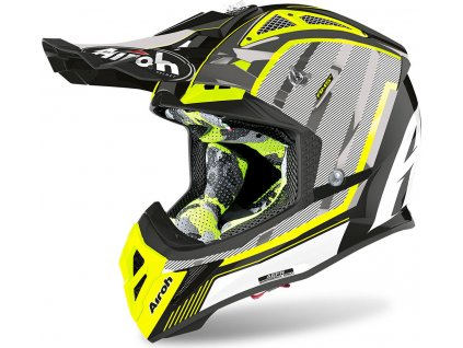 prilba na moto airoh aviator 2.3 ams2 glow yellow black grey
