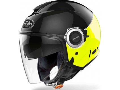 prilba na moto airoh helios fluo black yellow