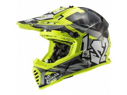 Prilba LS2 MX437 Fast Evo Crusher Black H-W Yellow