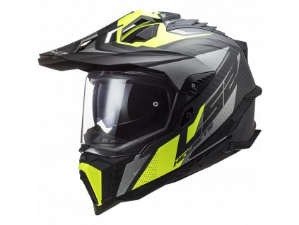 Prilba LS2 MX701 C Explorer FOCUS Matt Titanium H-V Yellow