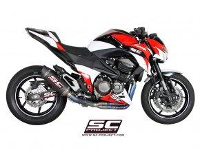Výfuk SC Project Kawasaki Z800 13-15 Celý systém 4-2-1 full titán OVAL Racing matt carbon K15-TC40C