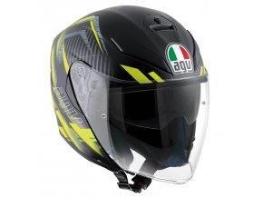 Prilba AGV K-5 Jet Urban Hunter Matt Black Yellow