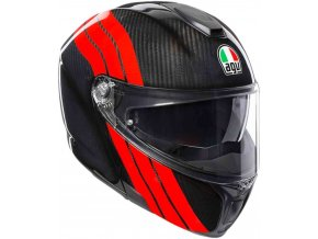 Prilba AGV Sportmodular Stripes Carbon Red