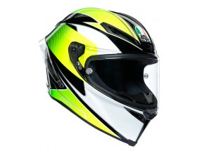 prilba na moto agv supersport black white lime