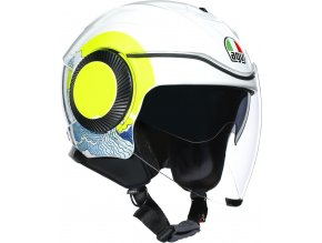 prilba na moto agv orbyt sunset white yellow fluo