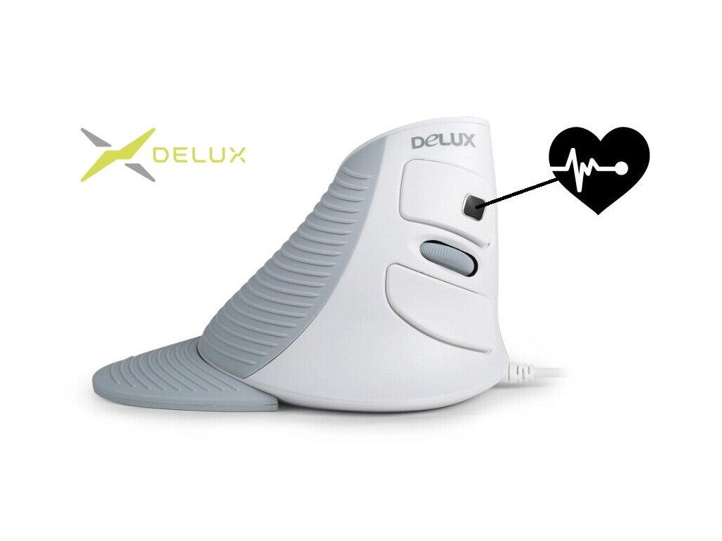 Delux M618Plus Wired mouse white s měřením tepu (M618PLUS)