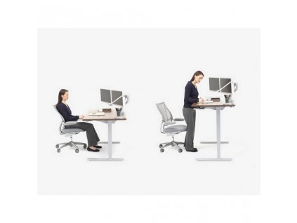 Humanscale Float FNSM63 výškově stavitelné stoly 80x160-180 cm - stříbrná