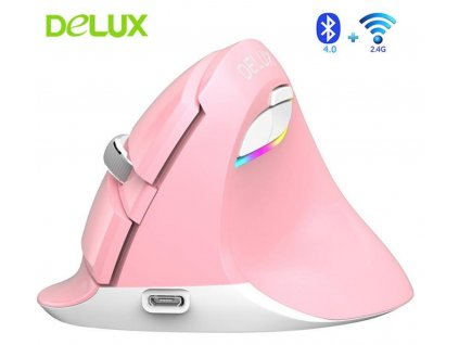 delux-m618mini-vertical-mouse-bluetooth-pink