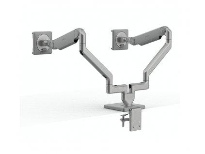 humanscale-m21-stojan-pro-dva-displeje-upevneni-na-sverku-stribrno-seda