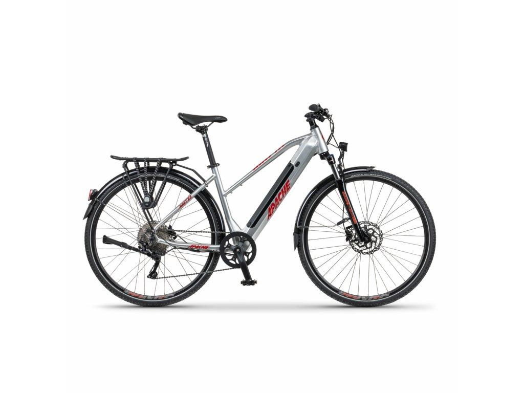 """Elektrobicykel krosový Apache Matta Tour E3 silver, 18"""""""