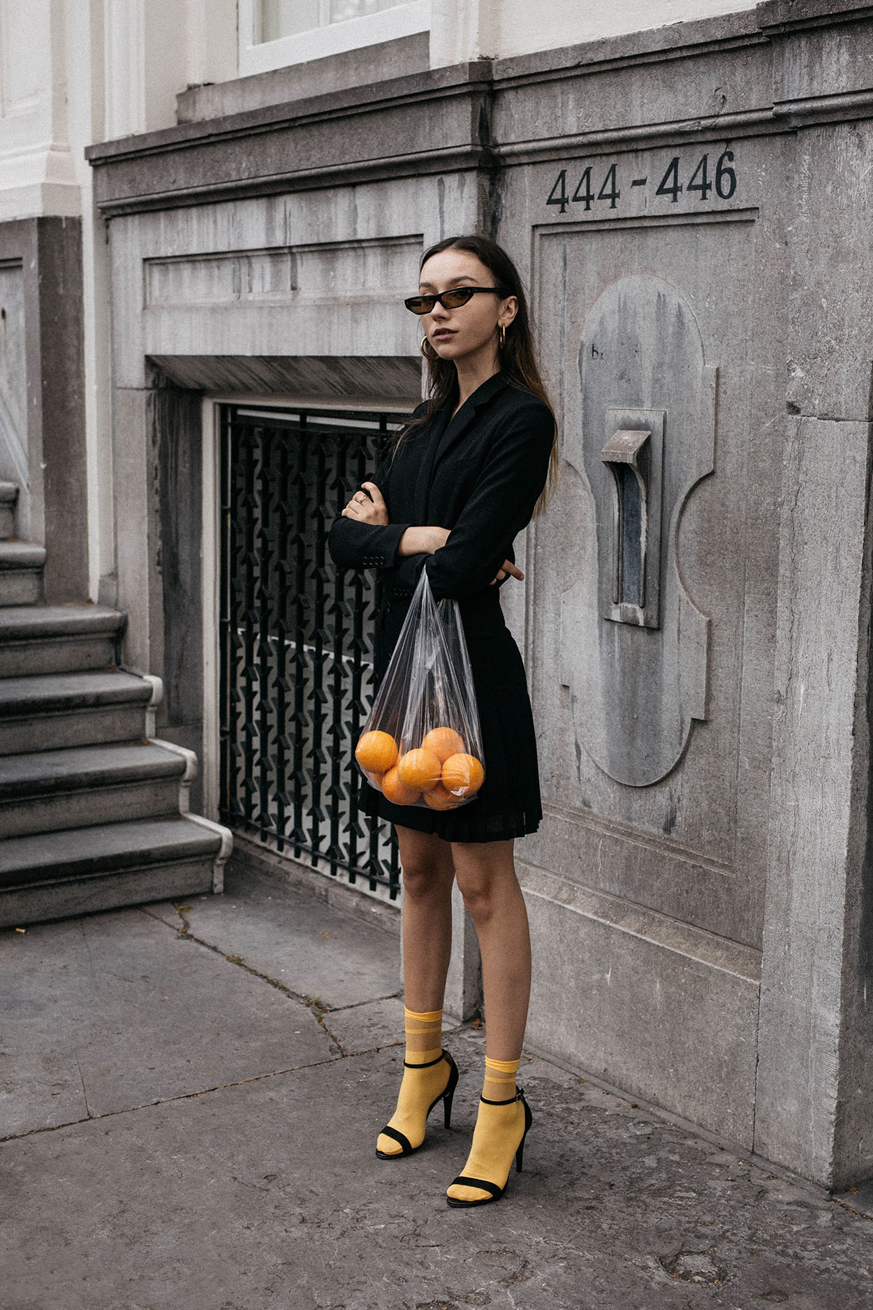 Bright-yellow-socks-with-Mai-Piu-Senza-strappy-sandals-trend-the-kooples-tuxedo-dress-balenciaga-2017-sunglasses-conceptual-editorial-outfit-ideas-thefashioncuisine-1