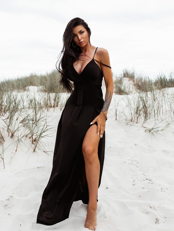 Černé dlouhé šaty SHANE s rozparkem