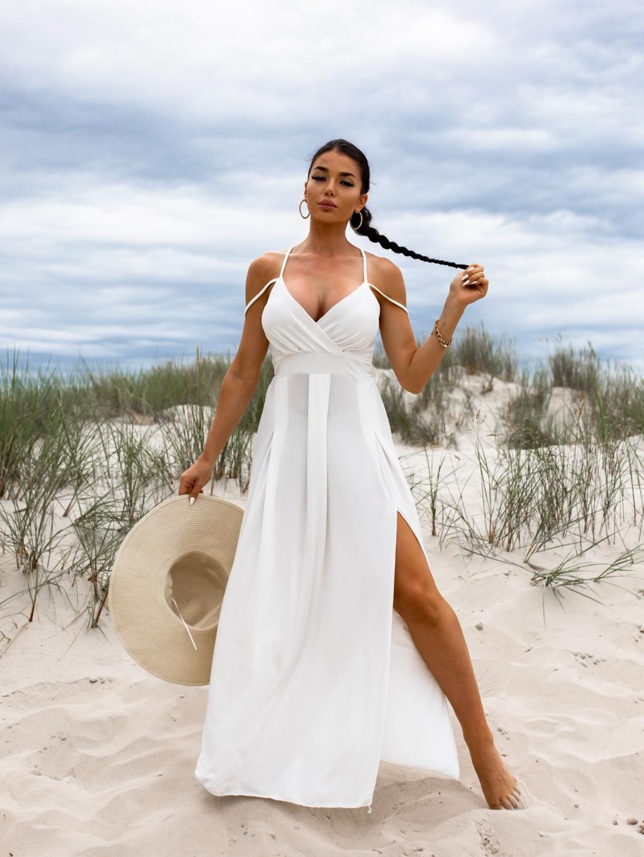 Bílé dlouhé šaty SHANE s rozparkem