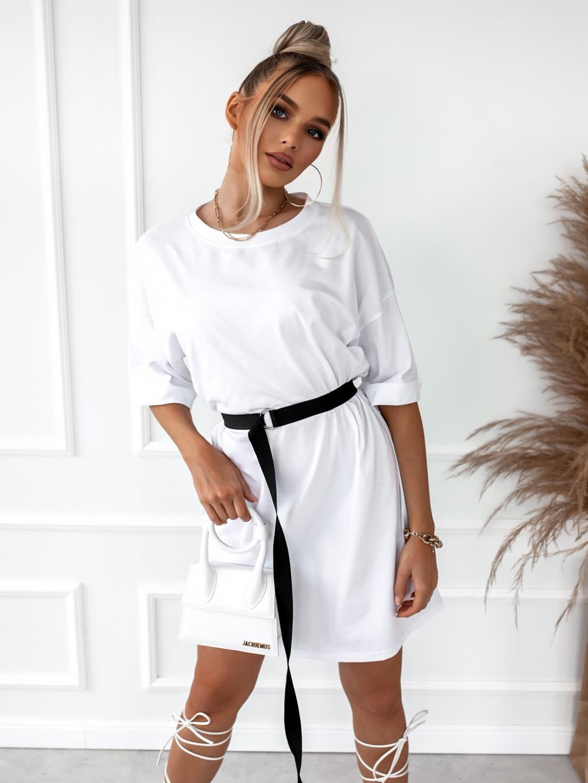 Bílé oversize triko/šaty CIRCLE s páskem
