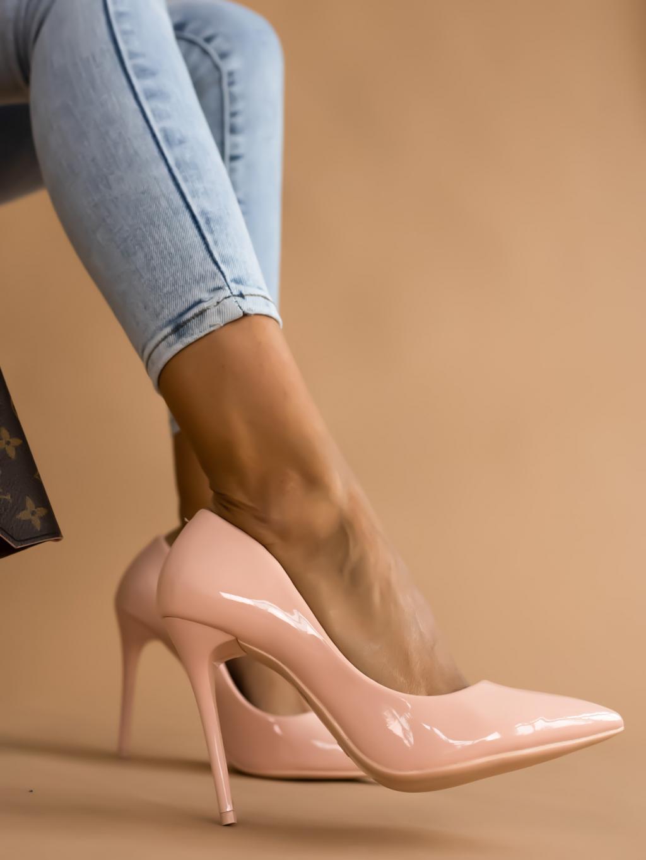 Starorůžové lesklé boty na podpatku BRIGHT