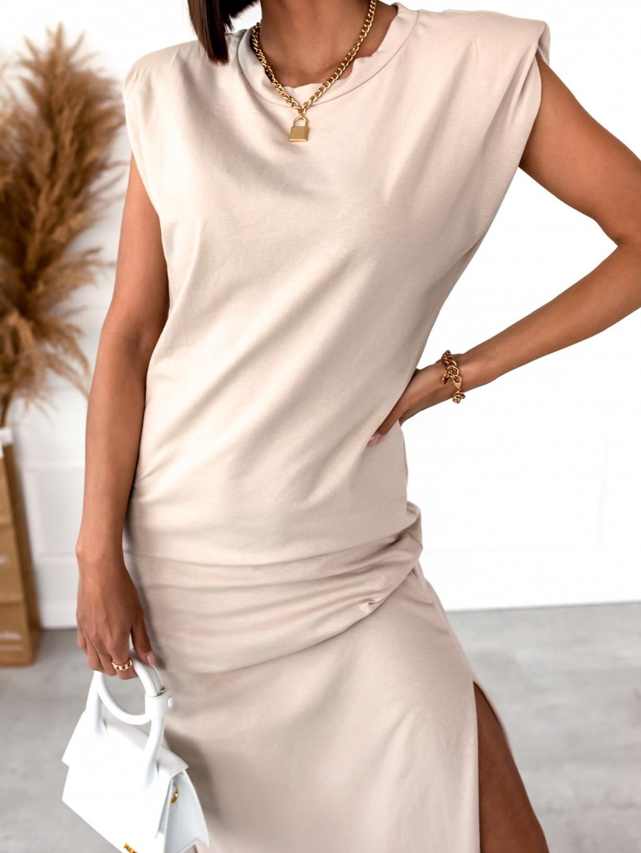 Béžové šaty MUCH s vyztuženými rameny
