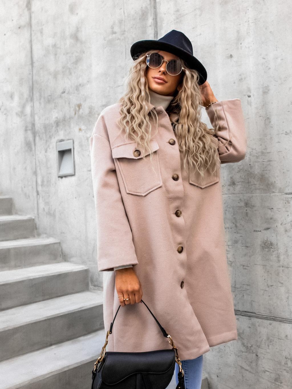 Béžový semišový kabátek NOELLE s knoflíky