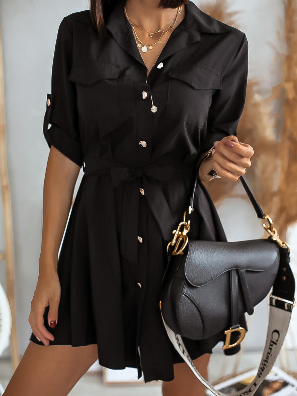 Černé lehké šaty FOGGY s knoflíky