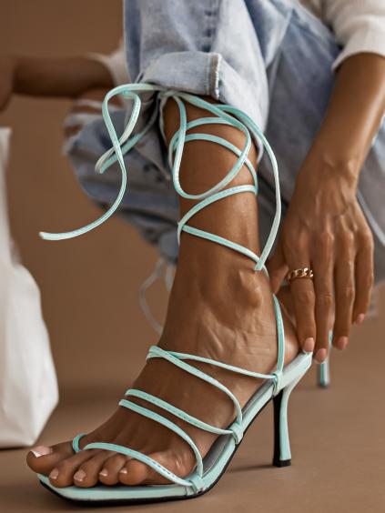 Modré šněrovací boty na podpatku STRING