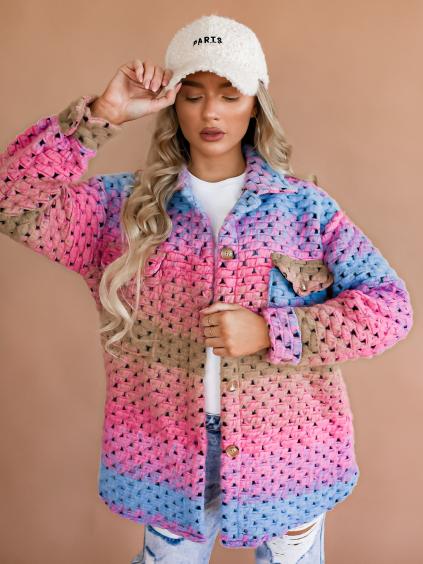 Růžovomodrý kabátek Teirra s knoflíky
