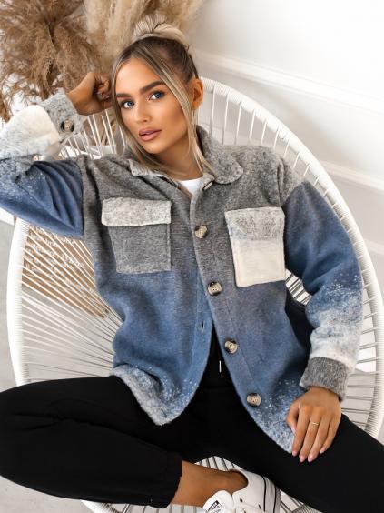 Modro šedá košile/kabátek EXPECT na knoflíky