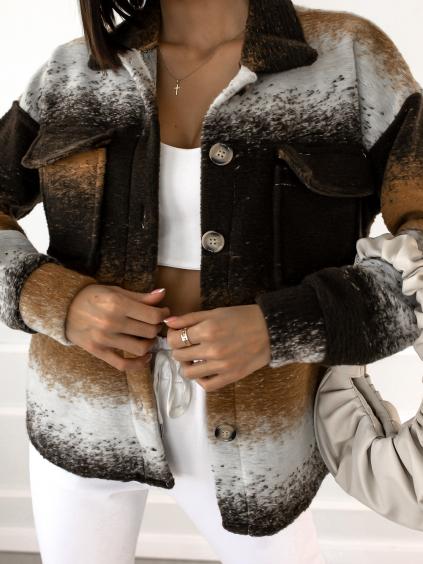 Černo hnědá košile/kabátek EXPECT na knoflíky