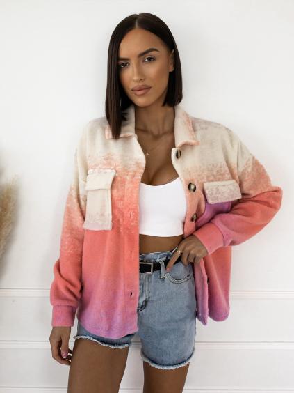 Krémovo růžová košile/kabátek GREGORY na knoflíky