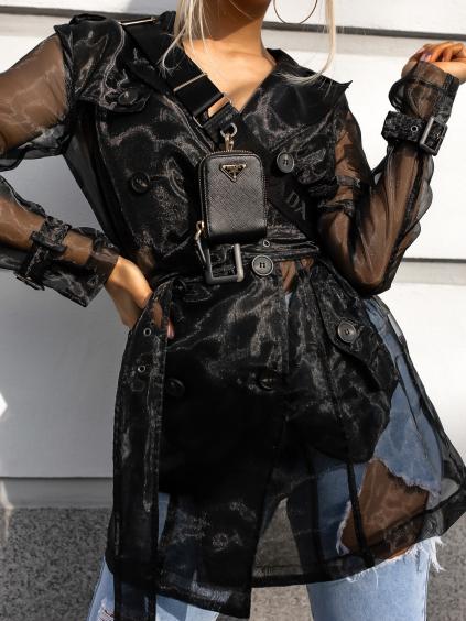Černý transparentní kabátek JOSLIN s páskem