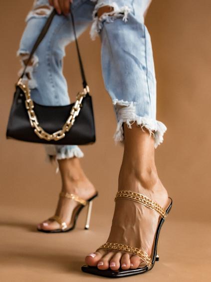 Černé páskové boty na podpatku Amanza