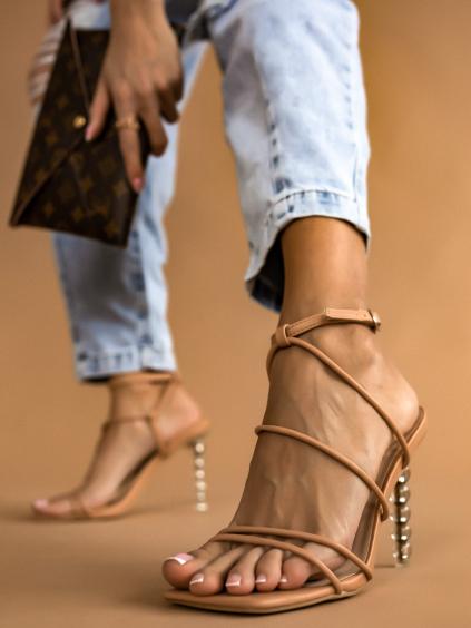 Béžové boty na výstředním podpatku Holly