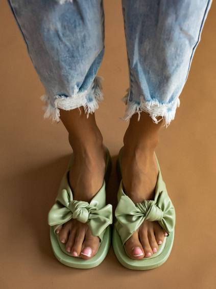 Zelené pantofle BOW s mašlí
