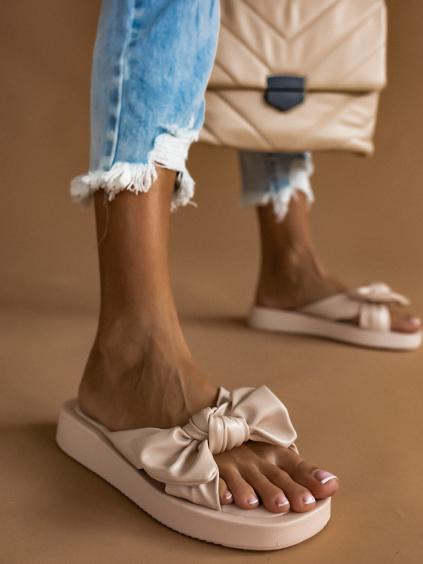 Béžové pantofle BOW s mašlí