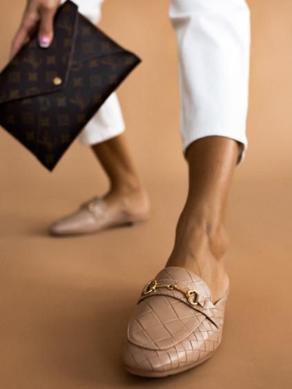 Béžové vzorované pantofle STEVENS