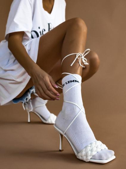 Bílé sněrovací boty na podpatku EDITH
