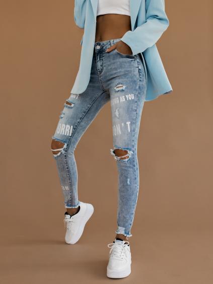 Modré džíny COSMA s potiskem