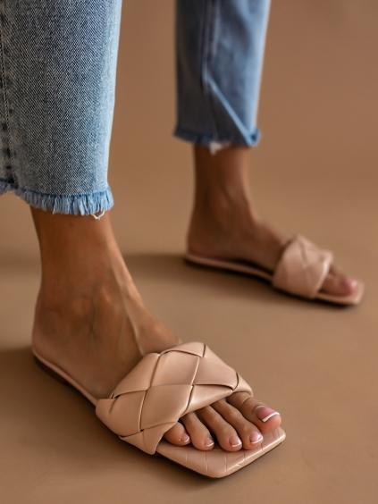 Růžové proplétané pantofle GRACE