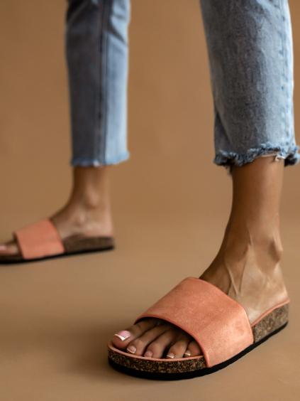 Oranžové semišové pantofle MASON