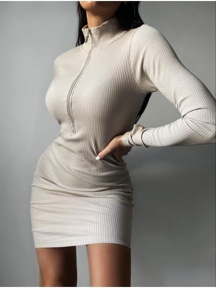 Béžové žebrované šaty STIPS se zipem a dlouhým rukávem
