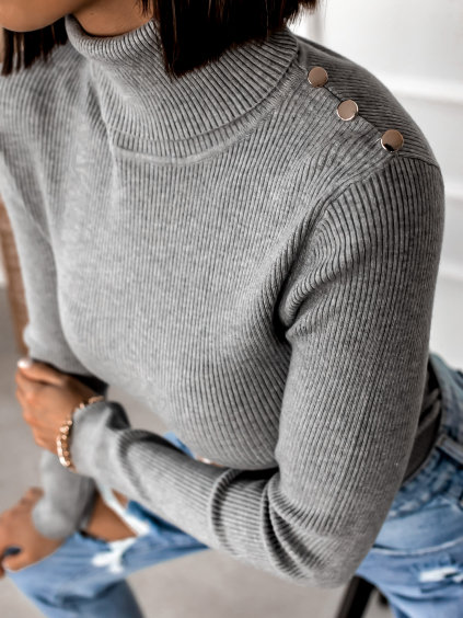Šedý rolákový svetřík MUST s knoflíky na ramenou